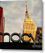 Macy's With Empire State Building - Famous Buildings And Landmarks Of New York City Metal Print