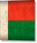 Madagascar Flag Vintage Distressed Finish Metal Print