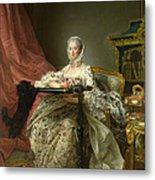 Madame De Pompadour At Her Tambour Frame Metal Print