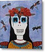 Madame Dragonfly Day Of The Dead Metal Print