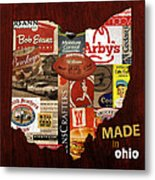 Made In Ohio Products Vintage Map On Wood Metal Print