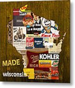 Made In Wisconsin Products Vintage Map On Wood Metal Print