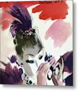 Mademoiselle Cover Featuring A Woman Looking Metal Print