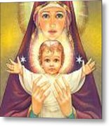 Madonna And Baby Jesus Metal Print by Zorina Baldescu