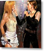 Madonna And Britney Spears  Metal Print
