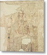 Madonna And Child Enthroned, Drawing For A Fresco Sinopia On Paper Metal Print
