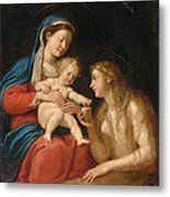 Madonna And Child With Mary Magdalene  Metal Print