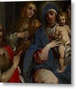 Madonna And Child With Saints John The Baptist With Mary Magdalene And Anne Metal Print