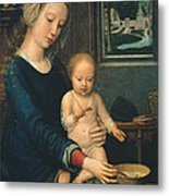 Madonna And Child With The Milk Soup Metal Print