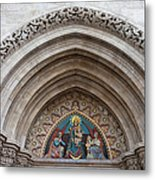 Madonna With Child On Matthias Church Tympanum Metal Print
