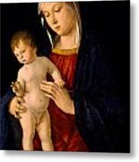 Madonna With The Child Blessing Metal Print by Giovanni Bellini