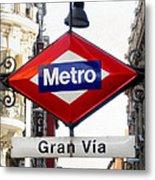 Madrid Metro Sign Metal Print