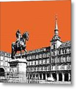 Madrid Skyline Plaza Mayor - Coral Metal Print