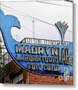 Madryn Lab Whale Sign Metal Print