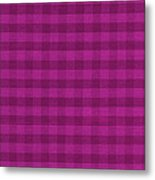 Magenta Checkered Pattern Cloth Background Metal Print