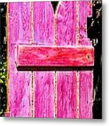 Magenta Painted Door In Garden  Metal Print