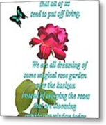 Magenta Red Rose With Butterfly And Quote Metal Print