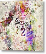 Magic Johnson Metal Print by Aged Pixel