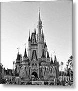 Magic Kingdom Castle In Black And White Metal Print