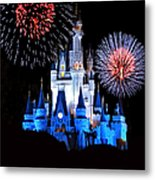 Magic Kingdom Castle In Blue With Fireworks Metal Print