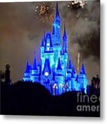 Magic Kingdom Castle In Deep Blue With Fireworks Metal Print