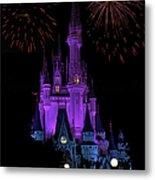 Magic Kingdom Castle In Purple With Fireworks 01 Metal Print