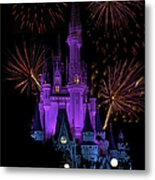 Magic Kingdom Castle In Purple With Fireworks 03 Metal Print