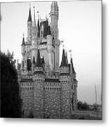 Magic Kingdom Castle Side View In Black And White Metal Print
