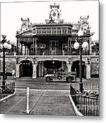Magic Kingdom Train Station In Black And White Walt Disney World Metal Print