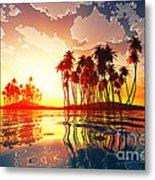 Magic Sunset In Clouds Metal Print