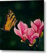 Magnolia And Butterfly Metal Print
