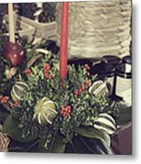 Magnolia Christmas Candle Colonial Williamsburg Metal Print