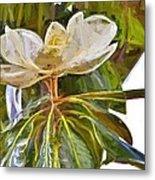 Magnolia White Metal Print