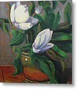 Magnolias On Brass Metal Print by Lilibeth Andre