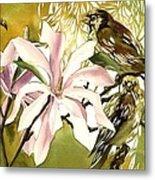 Magnolias With Sparrows Metal Print