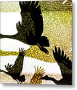 Magpie Geese In Flight Metal Print by Holly Kempe