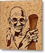 Mahatma Gandhi Coffee Painting Metal Print