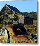 Mail Pouch Barn And Old Cars Metal Print