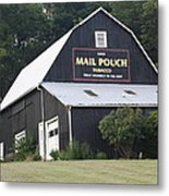 Mail Pouch Barn And Two Foxes Metal Print