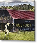 Mail Pouch Barn With Cow Metal Print