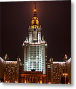 Main Building Of Moscow State University At Winter Evening - 2 Featured 3 Metal Print