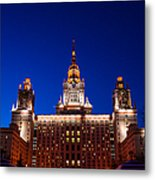Main Building Of Moscow State University At Winter Evening - 5 Metal Print