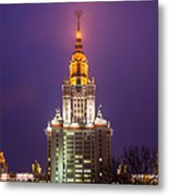 Main Building Of Moscow State University At Winter Evening - Featured 3 Metal Print