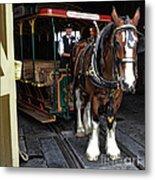 Main Street Horse And Trolley Metal Print
