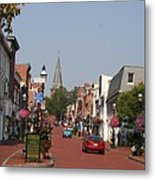 Main Street In Downtown Annapolis Metal Print