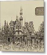 Main Street Sleeping Beauty Castle Disneyland Heirloom 03 Metal Print
