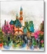 Main Street Sleeping Beauty Castle Disneyland Photo Art 01 Metal Print