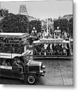 Main Street Transportation Disneyland Bw Metal Print