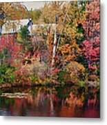 Maine Barn Through The Trees Metal Print by Jeff Folger