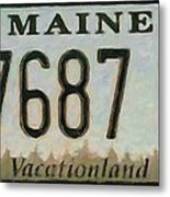 Maine License Plate Metal Print